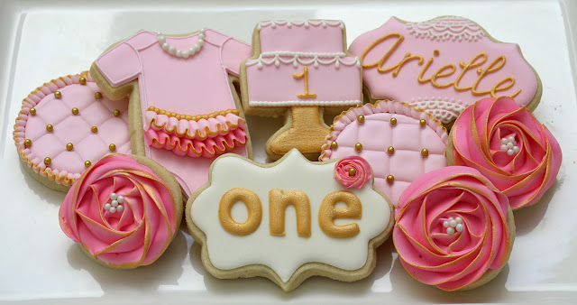 ruffle, lace, pearl cookies, girly first birthday party cookies