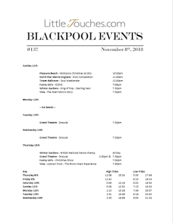 Blackpool Shows and Events November 9 to November 15 - PDF What's On listings print-off