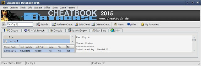 CheatBook cheats game