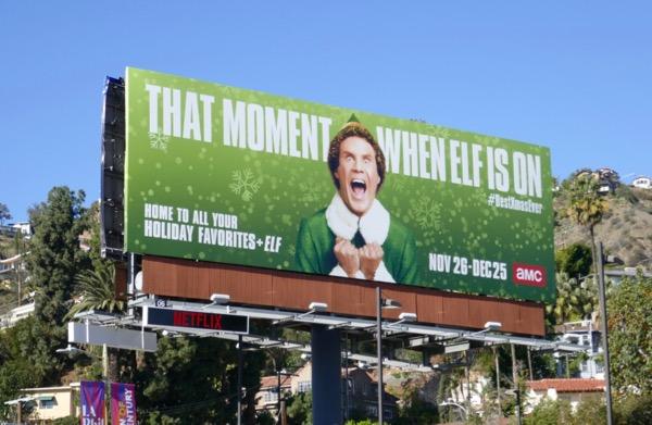 moment when Elf is on AMC billboard