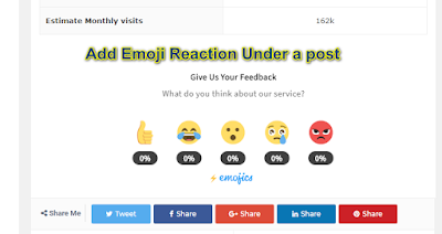 reaction button for bloggers, emoji reaction button, add emoji reaction button on blogspot, reaction button