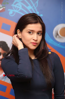 Actress Mannara Chopra Stills in Blue Short Dress at Rogue Song Launch at Radio City 91.1 FM  0007.jpg