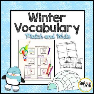 Winter Vocabulary Match & Write