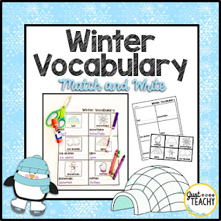 Winter Vocabulary Match & Write, www.JustTeachy.com