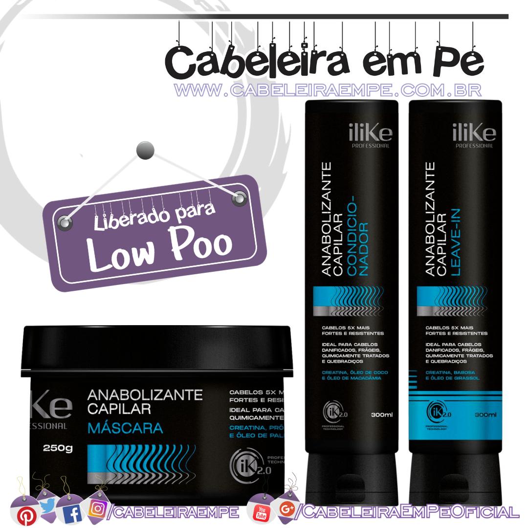 Máscara, Condicionador e Leave In Anabolizante Capilar - Ilike (Low Poo)