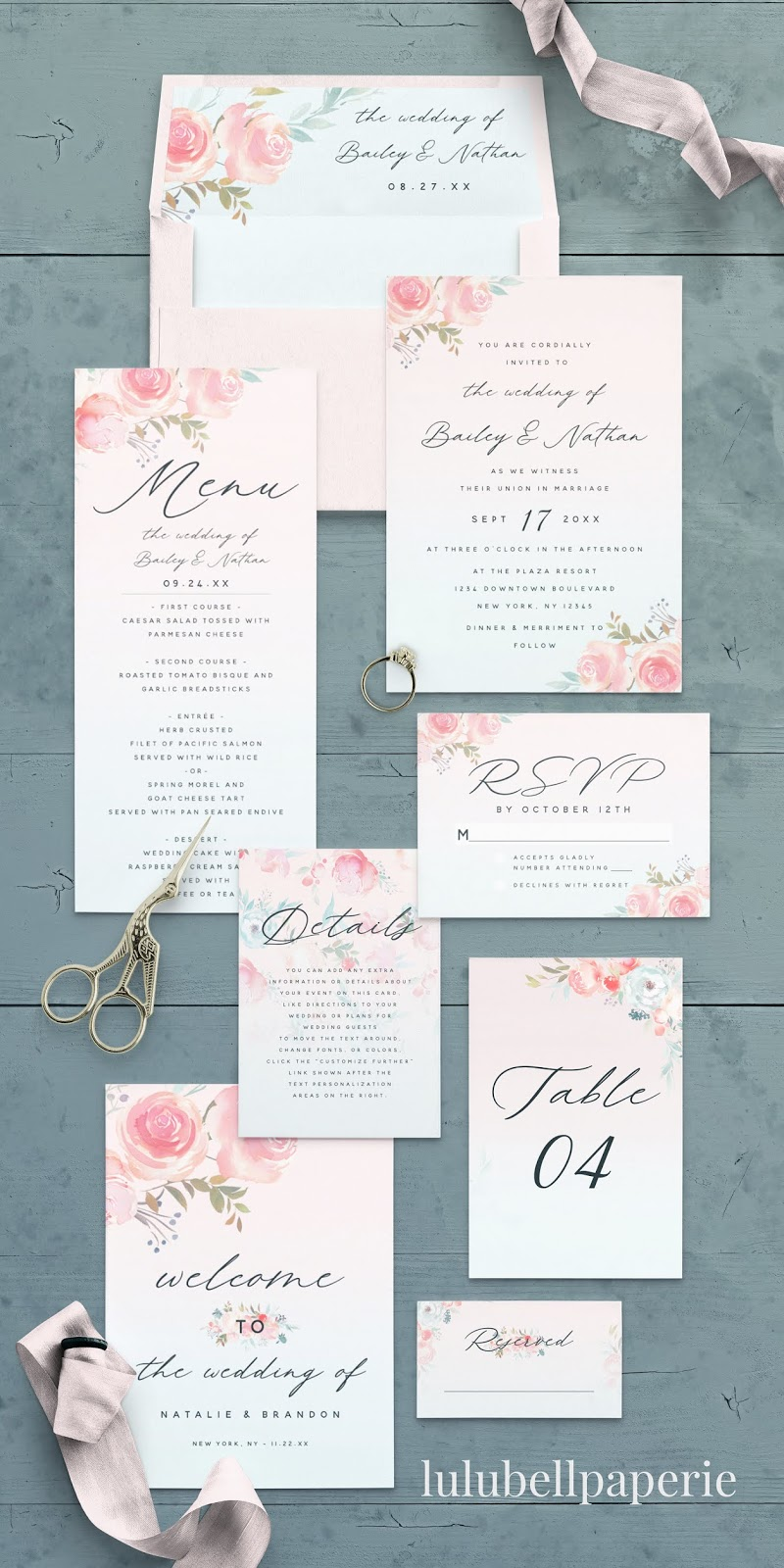 French Garden Floral Wedding Suite - Envelopes and Liners, Wedding Invitations, Dinner Menus, RSVP Cards, Detail Enclosure Cards, Table Numbers, Programs, and Placecards
