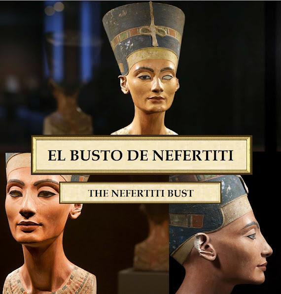 El busto de Nefertiti es una escultura policromada de piedra caliza y yeso elaborada por el Escultor Real Tutmose o Dyehutymose , artesano y maestro escultor durante el reinado de Akenatón, en el entorno al 1350 a. C.
