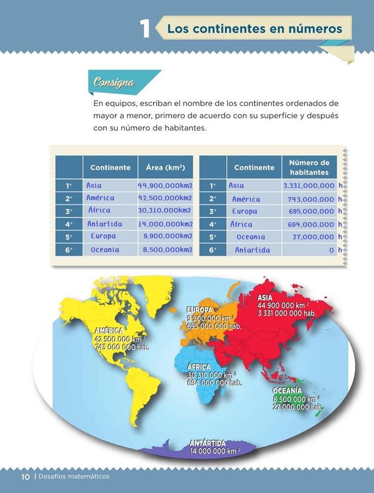 Libro de textoDesafíos MatemáticosLos continentes en númeroSexto gradoContestado
