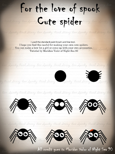 For the love of spook; cute spider; tutorial by Maridan Valor of Night Sea 90