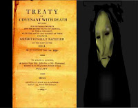 graphic (c) erika Grey of a treaty, covenant with death and the angel of death's enshrouded face next to the text of the treaty