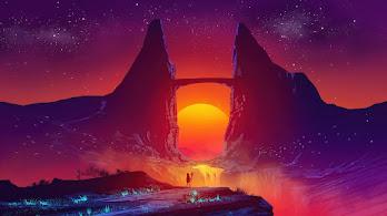 Sunset, Scenery, Fantasy, Landscape, Digital Art, 4K, #6.2525