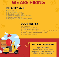 Walk In Interview at Papa Ron's Pizza Surabaya Januari 2021