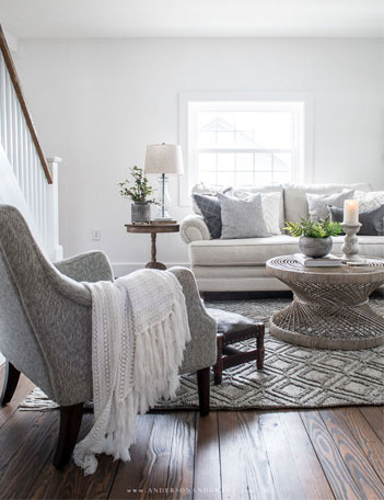 white living room with furniture