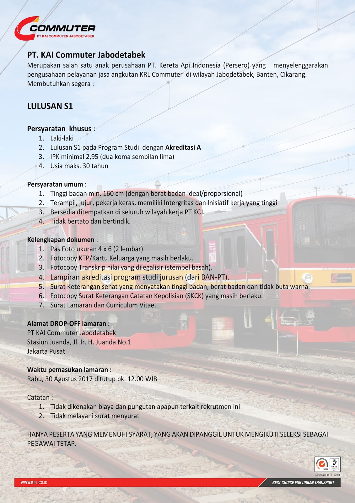 Lowongan Kerja Lowongan Kerja Terbaru Pt Kai Commuter Jabodetabek Agustus 2017