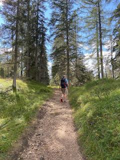 The Dolomieu trail heading up to Rifugio Faloria.