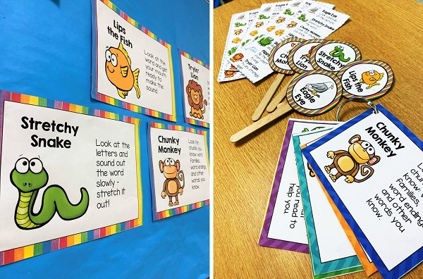 Decoding strategies are key for early readers.  Having a collection of resources that students can reference during a guided group and while working independently is important too.  Using bookmarks, wands and mini cards to supplement the posters help with learning.