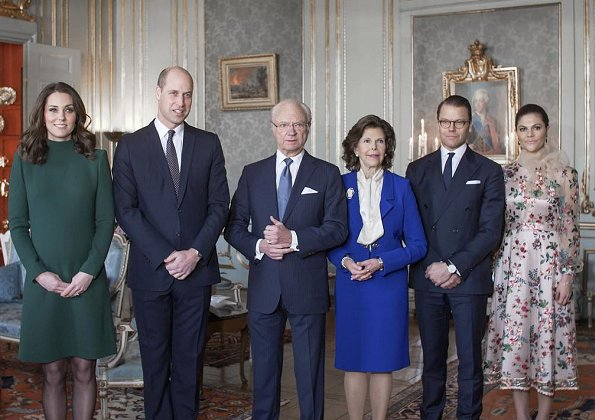 Crown Princess Victoria wore Camilla Thulin floral dress, Kate Middleton wore a new Catherine-Walker green dress