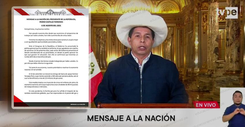 MENSAJE A LA NACIÓN: Texto Completo del Mensaje Presidencial (Lunes 6 Septiembre 2021) Pedro Castillo Terrones - DESCARGAR .PDF - www.presidencia.gob.pe
