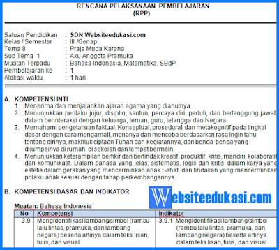 pada postingan ini kembali admin akan mengembangkan RPP Kelas  RPP Kelas 3 Tema 8 Kurikulum 2013+ Revisi 2019