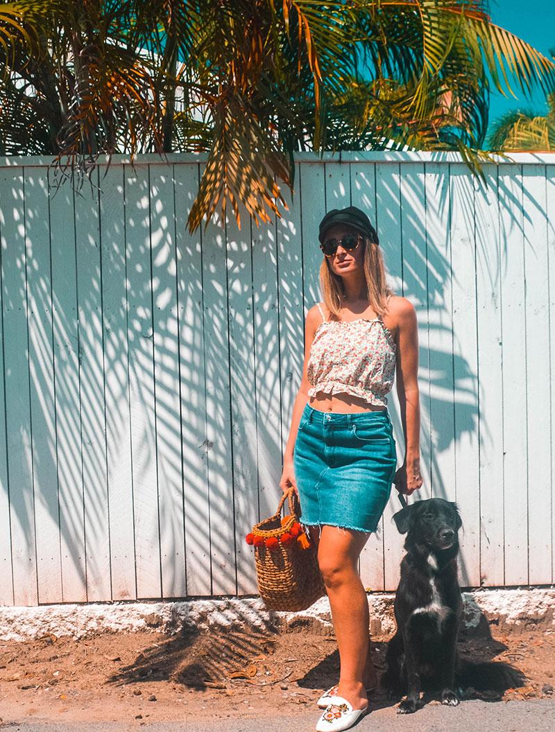 baker boy hat australian summer blogger outfit basket bag denim skirt