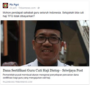 PG PGRI : Setujukah Bila Cuti Haji Tunjangan Fungsional Guru (Sertifikasi) Tidak Dibayarkan?