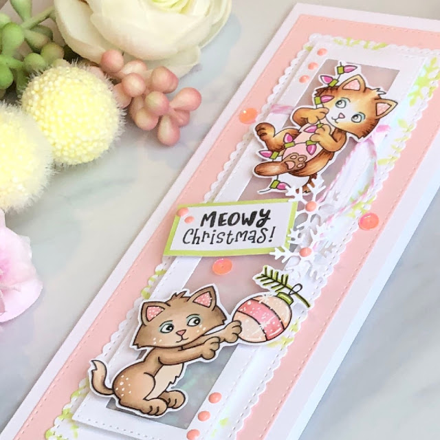 Meowy Christmas Card by October Guest Designer Allison Arbour | A Kitten Christmas Stamp Set by Newton's Nook Designs #newtonsnook #handmade
