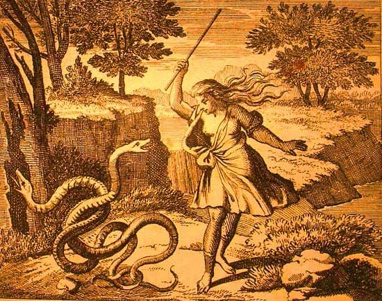 Tirésias ataca as serpentes com um pau.