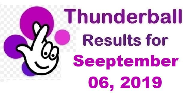 Thunderball results for Friday, September 06, 2019