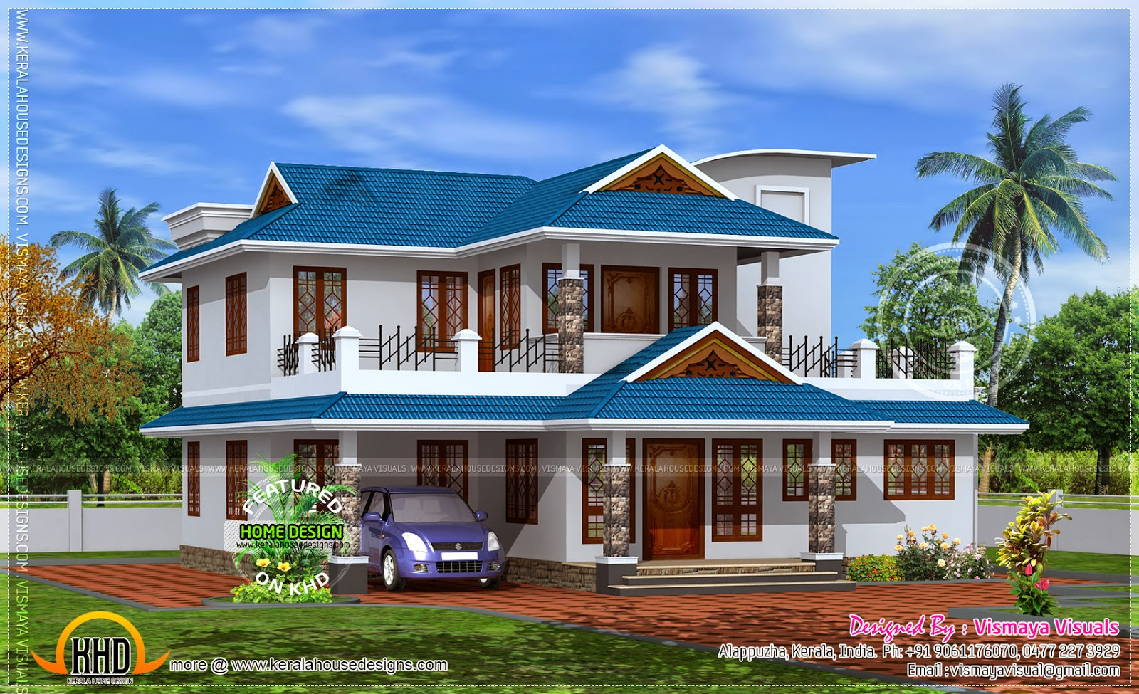 2350 sq feet home model in kerala kerala home design for 2 bedroom house plans in kerala