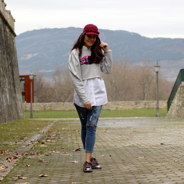 Sudadera-top/ Camisa-oversize