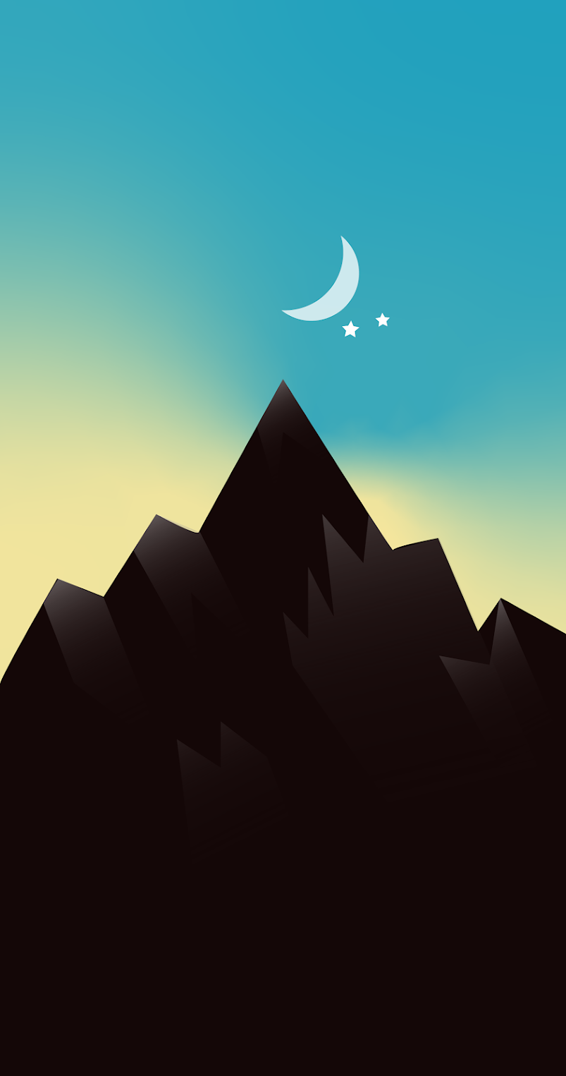 Wallpaper minimalist mountain with one star for mobile phone