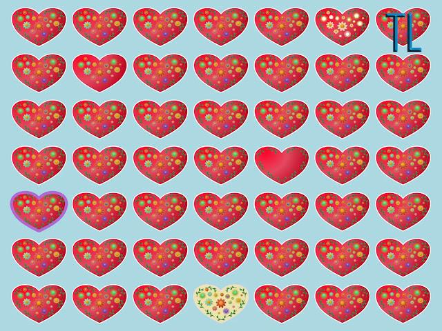 Encuentra los 5 corazones diferentes