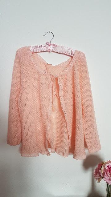 pink cardigan, vintage