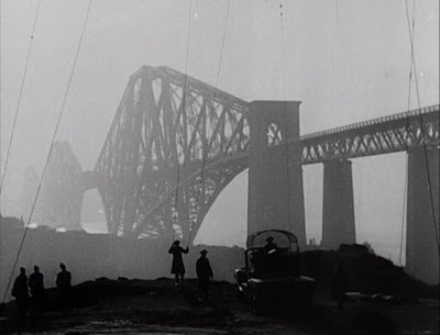 Barrage balloon cables beside the Forth Bridge