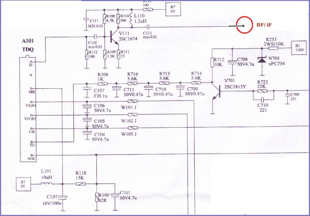 Rangkaian Tunner RF/IF Mesin TV China merek WCOM