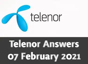 Telenor Quiz Today 7 Feb 2021 | Telenor Answers 7 February 2021