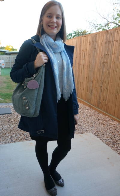 foil polka dot knit with navy coat pastel skull scarf and tempte Balenciaga bag winter office wear | away from blue