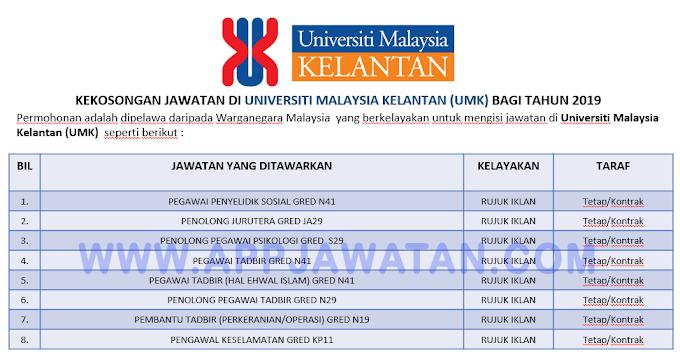 Jawatan Kosong Terkini di Universiti Malaysia Kelantan (UMK).
