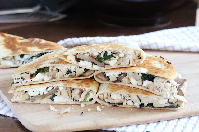 Chicken Mushroom Spinach Quesadillas with Feta