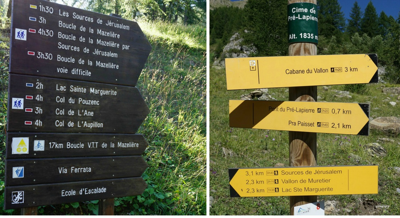 Signposts en route to Lac Ste Marguerite Les Orres