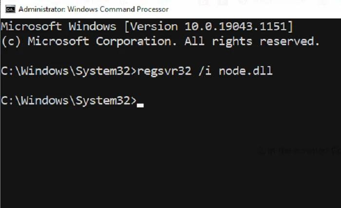 Register node.dll Command Prompt