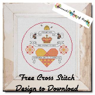 Free Valentine Wedding Cross Stitch Sampler