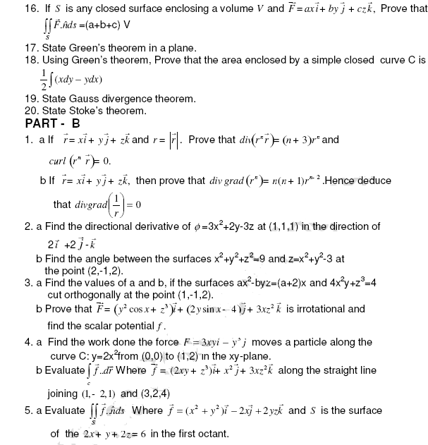 Vector calculus Important Questions