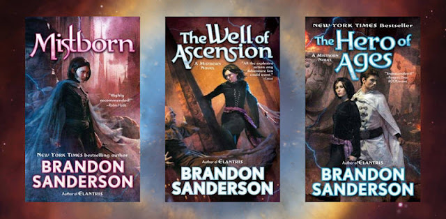 Book covers for the Mistborn Trilogy by Brandon Sanderson