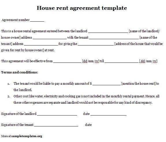 housing rental agreement template