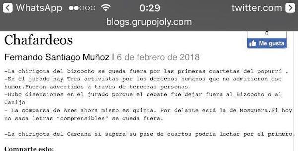 Fernando Santiago desata la polémica a horas del Fallo del Jurado del COAC 2018