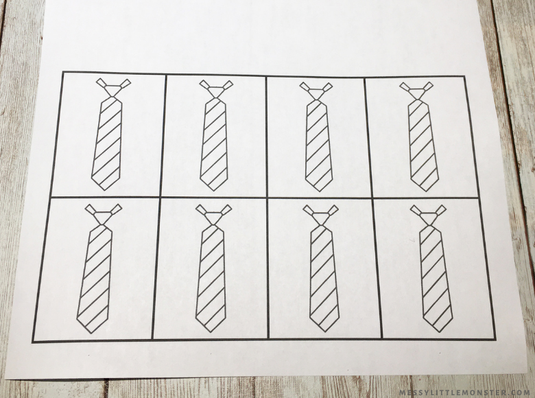 Father's Day printable tie template