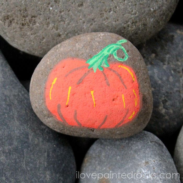 Easy tutorial how to paint a pumpkin rock