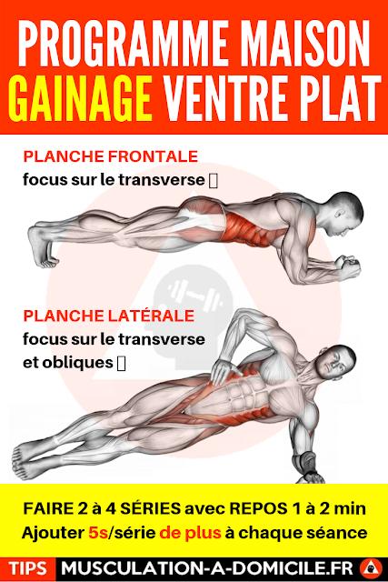 musculation à domicile programme musculation débutant poids du corps et haltère abdos gainage transverse