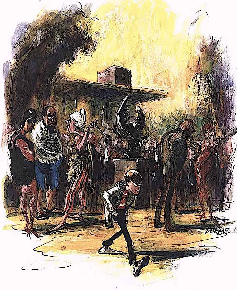 a 1965 Lorenz cartoon detail of an angry boy walking